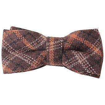 Knightsbridge Neckwear Checked Bow Tie - Brown/Orange/Black