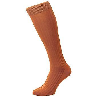 Pantherella Danvers Rib Cotton Lisle Over the Calf Socks - Cumin Orange