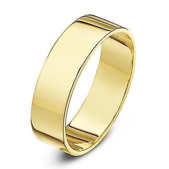 Star Wedding Rings 9ct Yellow Gold Heavy Flat Shape 6mm Wedding Ring