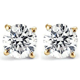 2 ct Round Diamond Studs in 14k Yellow Gold Screw Back Clarity Enhanced