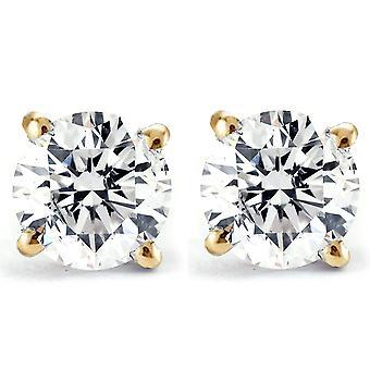 2 ct diament okrągły stadniny w 14k żółte złoto Śruba tylnej jasności Enhanced