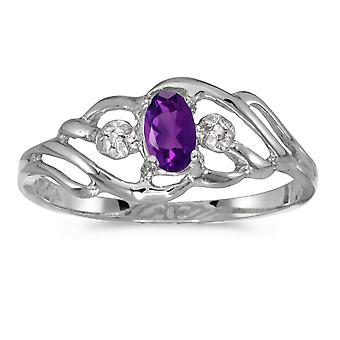 LXR 10k White Gold Oval Amethyst and Diamond Ring 0.18ct