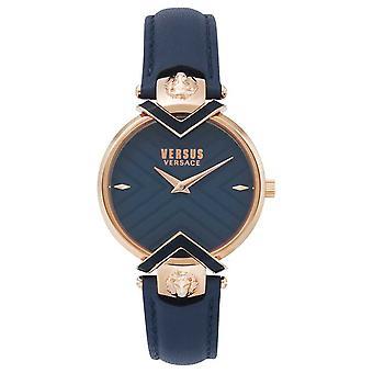 Versus Versace | Senhoras azuis pulseira de couro com ouro Rose | Relógio VSPLH0419