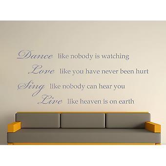 Dance Like Nobody Is Watching Wall Art Sticker - Silver