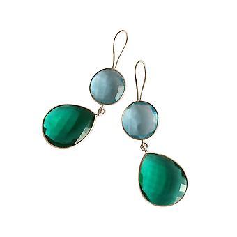 Gemshine Ohrringe Turmalin und Blautopas Tropfen in 925 Silber oder vergoldet