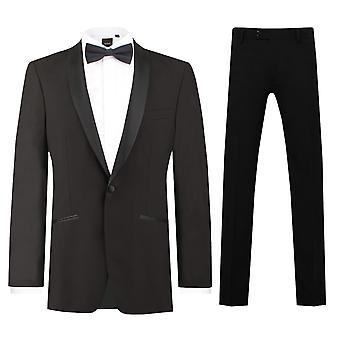 Dobell Mens Black 2 Piece Tuxedo Regular Fit Shawl Lapel
