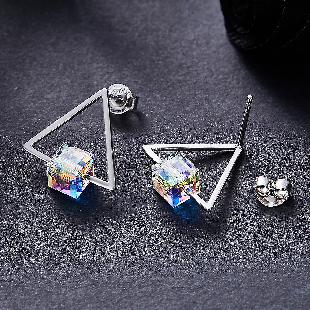 925 Sterling Silver Sparkly Triangle Aaaaa Cz Cube Stud Earrings