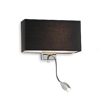 Ideal Lux Hotel Twin nero ombra applique da parete con luce di lettura a LED cromata