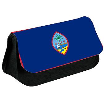Guam Flag Printed Design Pencil Case for Stationary/Cosmetic - 0217 (Black) by i-Tronixs