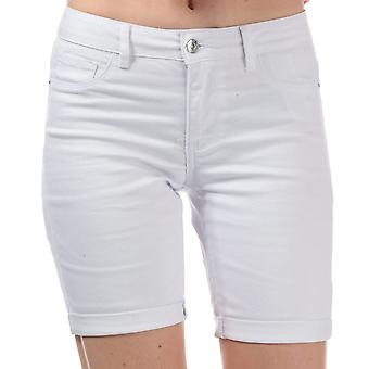 Womens Vero Moda Hot Seven Long shorts en blanco brillante