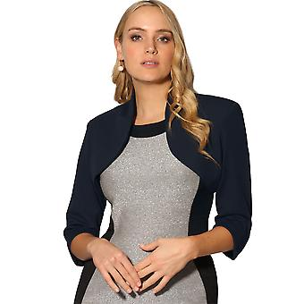 KRISP Femei Tailored Ridică din umeri 3 / 4 maneca trunchiate Bolero Top Party Blazer Jacheta Coat