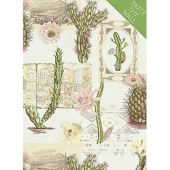 Mexico Floral Cactus Wallpaper Flowers Cream Green Pink Ethno Paste Wall Vinyl