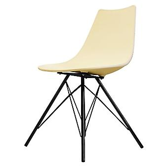 Fusion Living Iconic Vanilla Plastic Dining Chair With Black Metal Legs