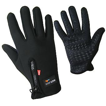Fleece Lined Sports Mens gloves with Touch function black