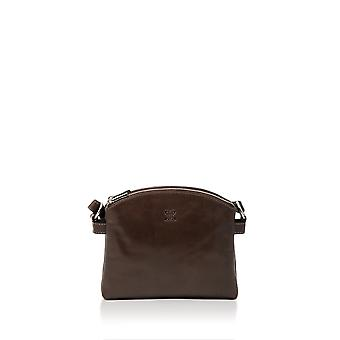 Bowland Leather Double Zip Shoulder Bag in Rich Brown