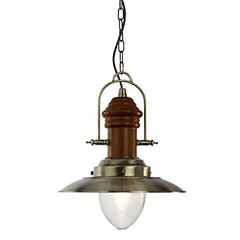 1 Light Dome Ceiling Pendant Antique Brass, Wood, Clear Glass