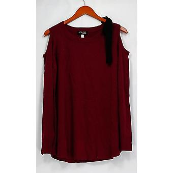 Attitudes by Renee Sweater Scoop Neck Cold Shoulder Detail Wine Red A298648