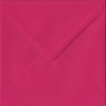 Fuchsia Pink Gummed 155mm Square Coloured Pink Envelopes. 100gsm FSC Sustainable Paper. 155mm x 155mm. Banker Style Envelope.