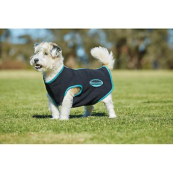 Weatherbeeta fleece zip Dog jas-zwart/turkoois