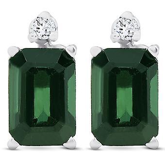1 1/3ct Green Tourmaline Diamond Studs 14K White Gold