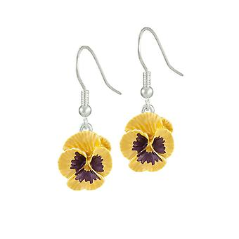 Eternal Collection Pansy Perfection Yellow Enamel Silver Tone Flower Drop Pierced Earrings