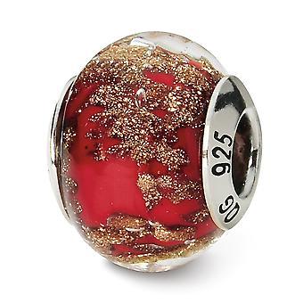 925 sterlinghopea kiillotettu antiikki viimeistely Italian Murano lasi reflections punainen kulta italialainen Murano helmi charmia riipus