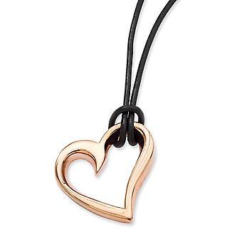 Stainless Steel Rose Gold Geflitst gepolijst lederen koord IP rose verguld Fancy Lobster Closure Love Heart 20inch ketting