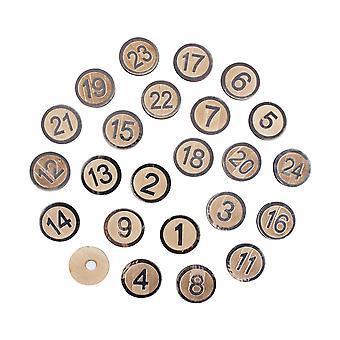 24 Silver Number Self Adhesive Wooden Discs for Advent Calendar Crafts