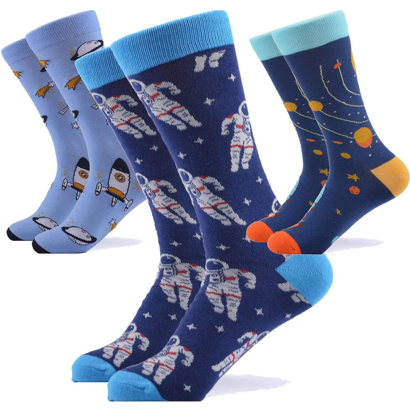 Rocket man space theme box 3 pairs of socks
