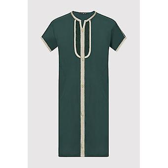 Gandoura sami boy's Kontrast trim kurze Ärmel lange Robe thobe in grün (2-12yrs)
