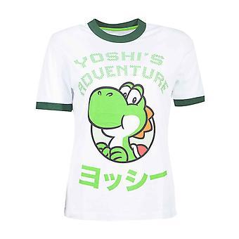 Super Mario T-shirt Yoshi Adventure officiella Nintendo Womens Skinny Fit vit