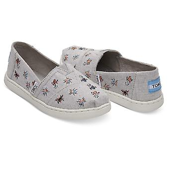 Kids Toms Girls Classic Canvas Slip On Loafers