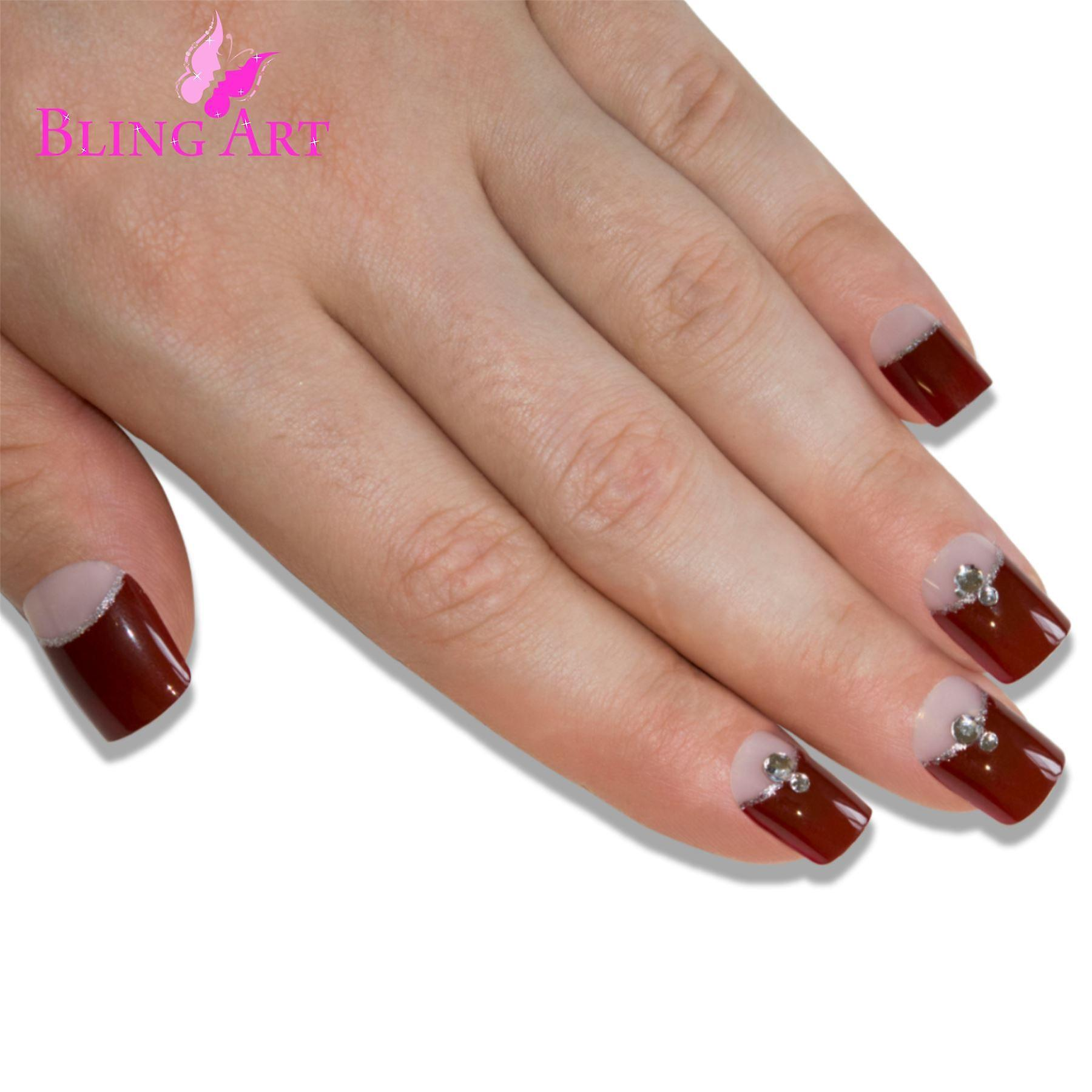 False nails by bling art red brown french manicure fake medium tips with glue