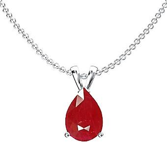 Dazzlingrock Collection 10K 9x7 mm Pear Cut Ruby Ladies Solitaire Pendant (Silver Chain Included), White Gold