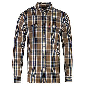 Levis Jackson Brown gecontroleerd regular fit werknemer shirt