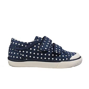 Startrite Bounce Navy Polka Dot Canvas Boys Rip Tape Casual Shoes