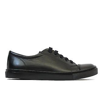 Petasil Peel Black Leather Unisex Lace Up Plimsoll Style School Shoes