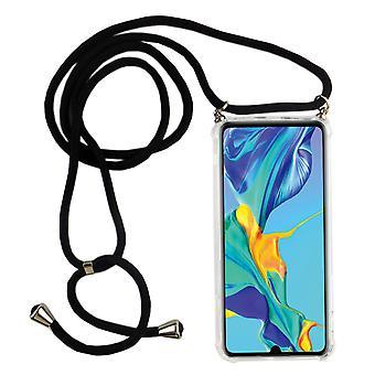 Telefon kedja för Huawei P30-smartphone halsband fodral med band-sladd med fodral att hänga i svart