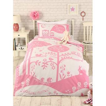 Wald Freunde einzelne Bettbezug Set - rosa