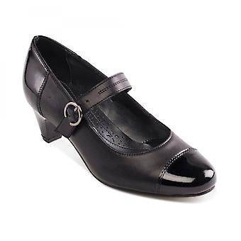 Padders Jean Ladies Leather Extra Wide (2e) Shoes Black