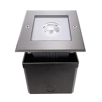 Led podłoga wpuszczona światło Kwadratowe COB I CW 6W 5000K 125x125 mm włącznie z zasilaczem srebrnym IP67