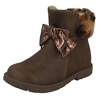 Girls Spot On Fur Collar Ankle Boots H4183
