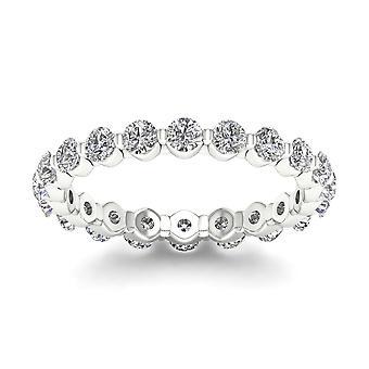 Igi certified 1.50 ct round cut diamond women's eternity band in 14k white gold