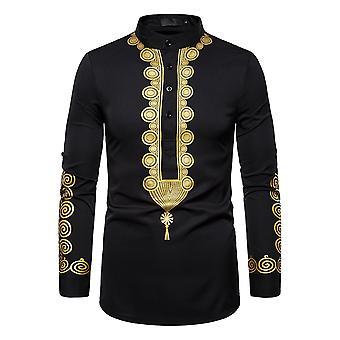 Allthemen Men's Casual Ethnic Style Colorebloccato Gilded A motivi geometrici a maniche lunghe Camicia