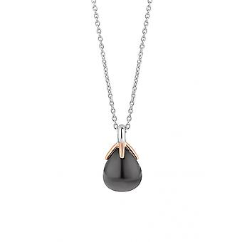 Ti Sento 3935GB necklace - silver and translucent blue grey flower button set with pink gold Women