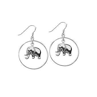 925 Sterling Silver Rhodium Pläterade franska Wire Hoop Örhängen med Elephant Smycken Gåvor för kvinnor