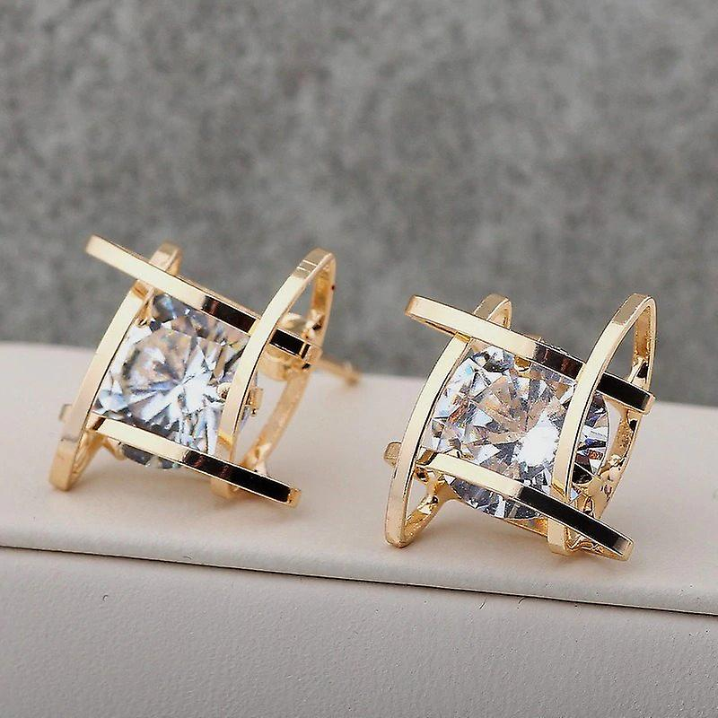 Gold Crystal Hollow Square Studs