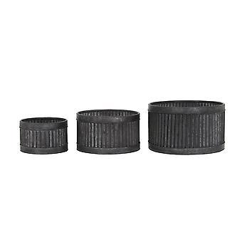 مجموعة وعاء الضوء والمعيشة من 3 40x23 و 33.5x19 و 25x15.5cm باكي الأسود