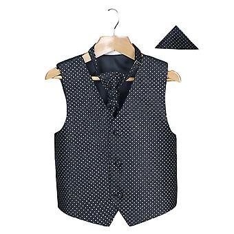 Boys Men's Black Wedding Waistcoat Cravat Hanky Set