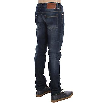 Acht Blue Wash Cotton Denim Slim Fit Leather Tag Jeans